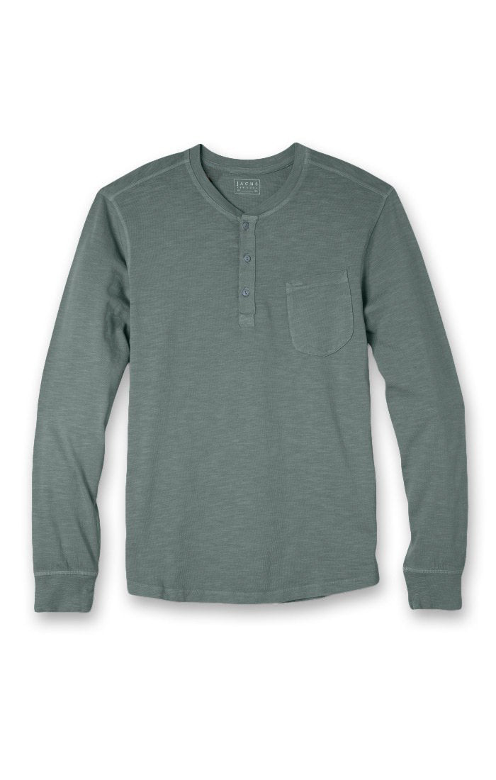 Pine Slub Cotton Long Sleeve Henley