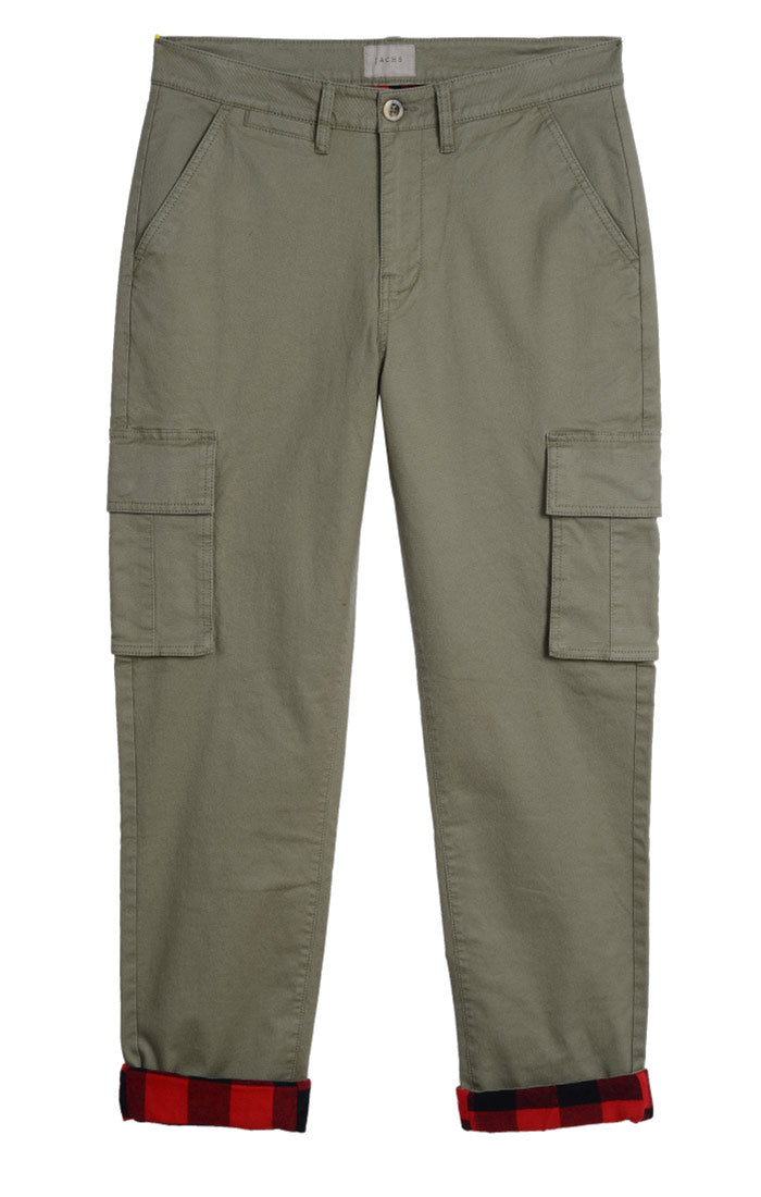 Olive Stretch Flannel Lined Cargo Pant