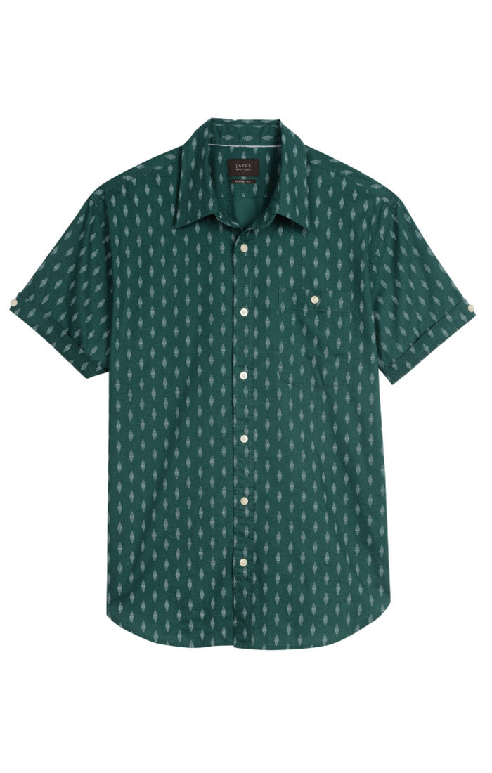 Green Diamond Stretch Short Sleeve Shirt - jachs