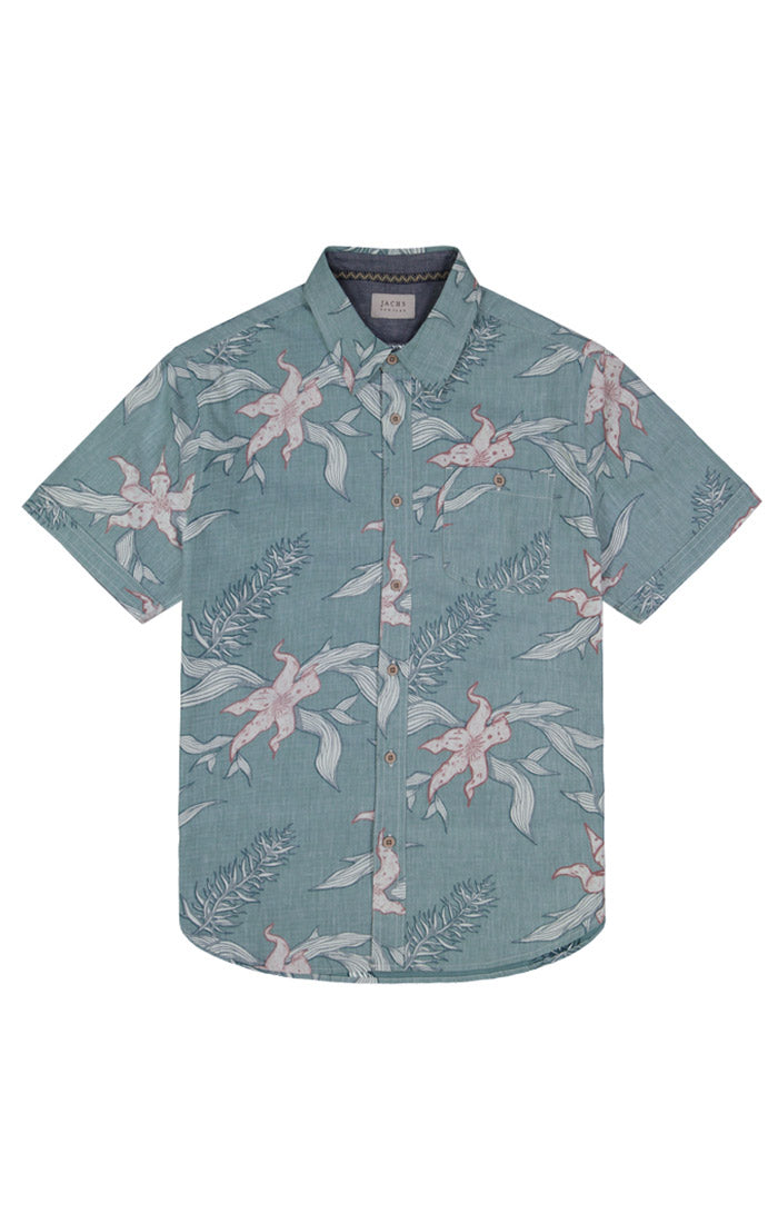 Green Hawaiian Print Short Sleeve Shirt - jachs