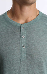 Green Linen TriBlend Long Sleeve Henley - jachs
