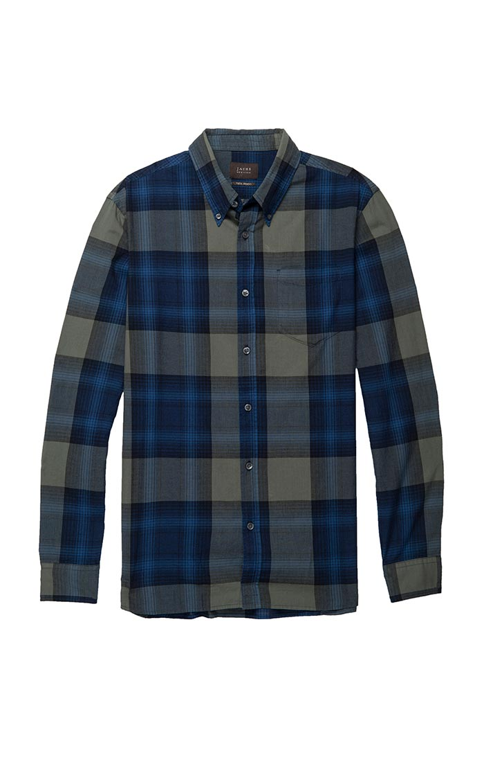 Navy and Green Plaid Poplin Shirt