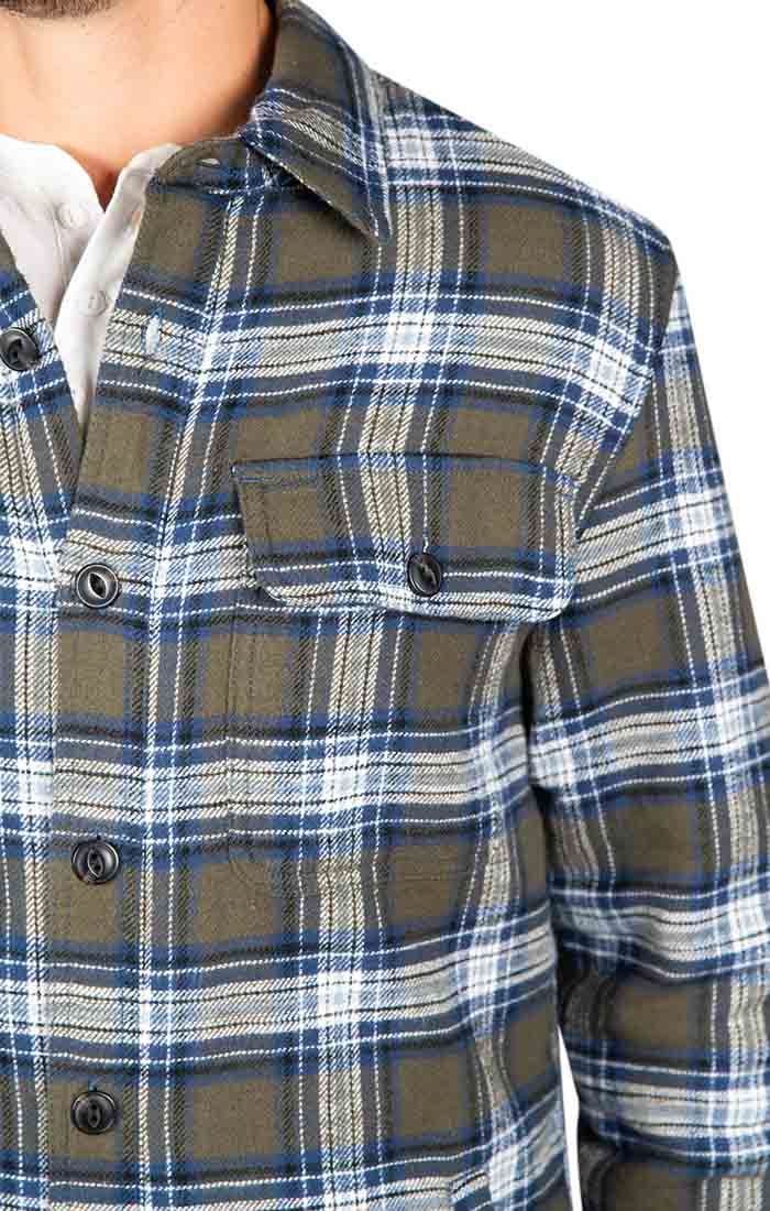 Green Sherpa Flannel Shirt Jacket - JACHS NY