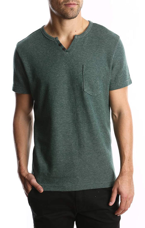 Green Short Sleeve Split V Tee