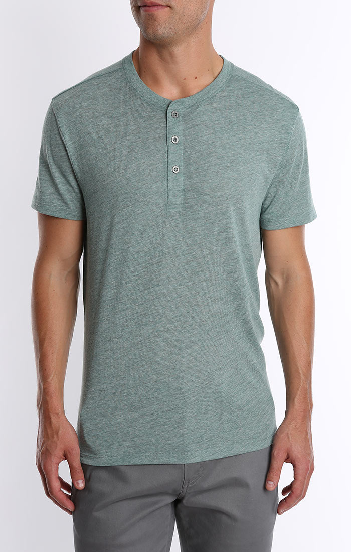 Green Linen TriBlend Short Sleeve Henley