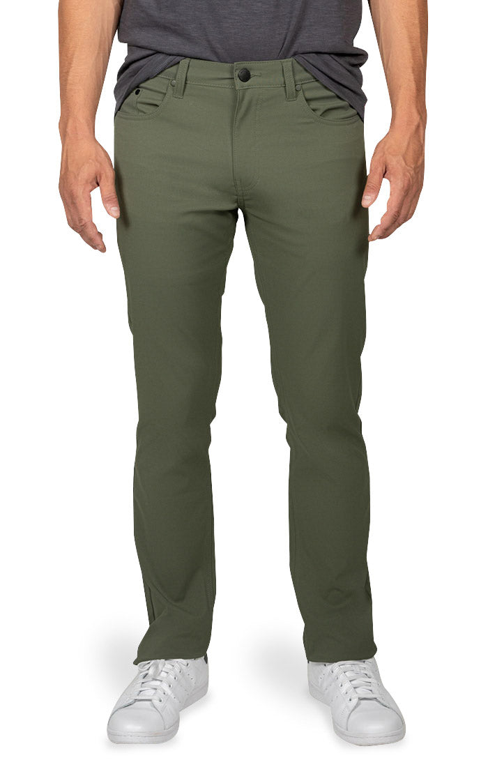 Green Straight Fit Stretch Tech Pant - jachs