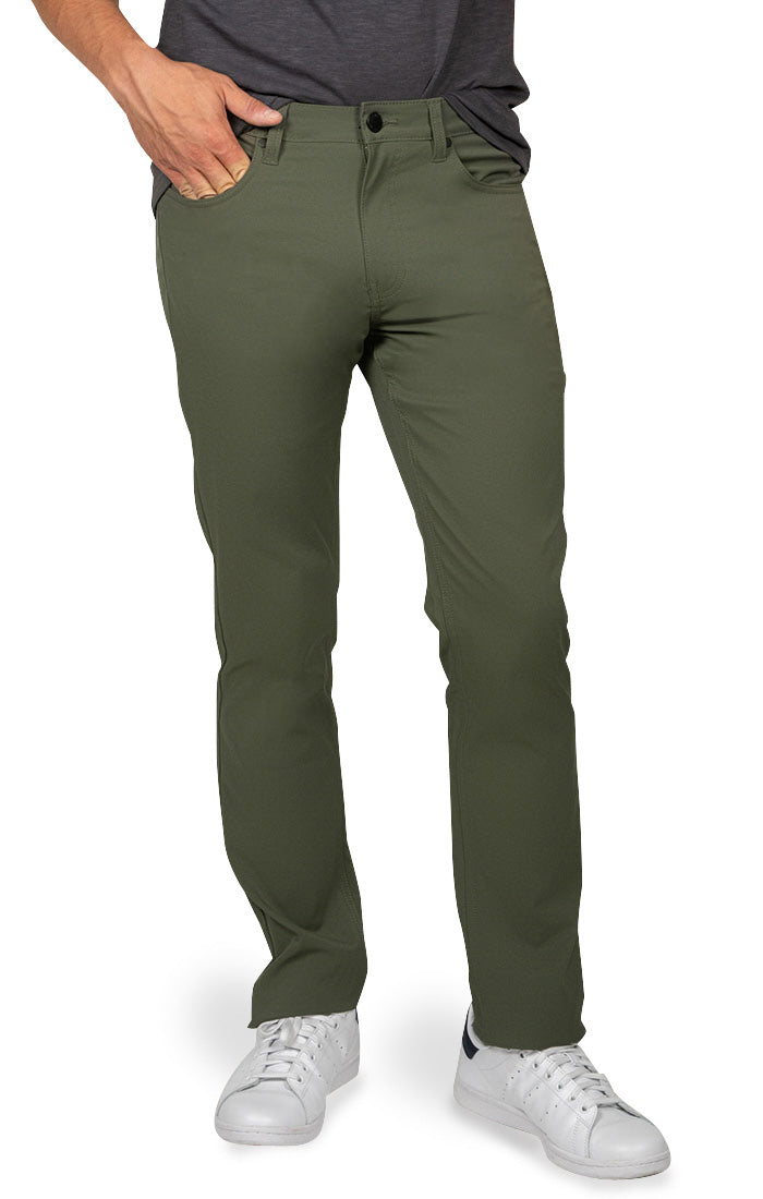 Green Straight Fit Stretch Tech Pant - JACHS NY