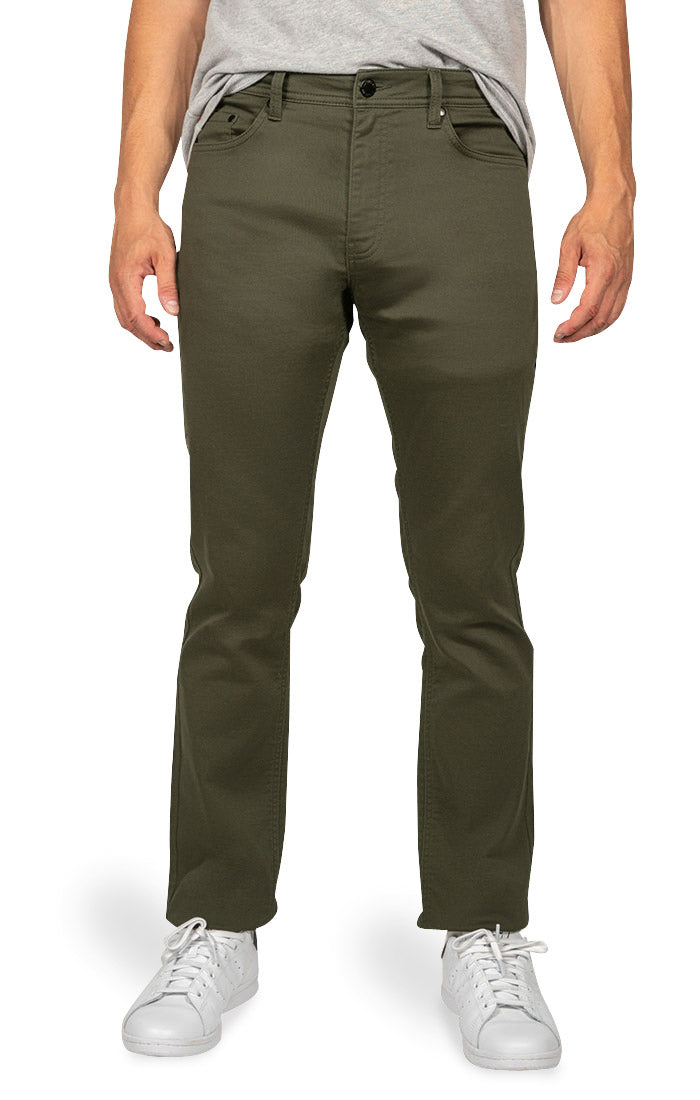 Green Straight Fit Stretch Canvas Pant
