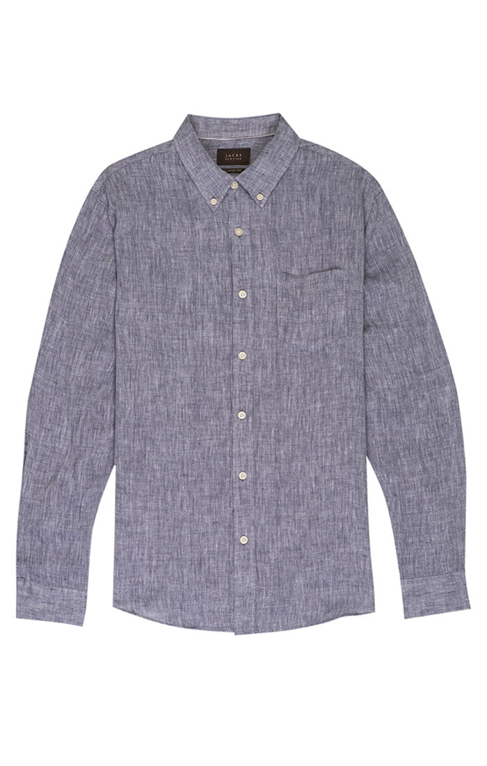 Blue Linen Chambray Shirt - jachs