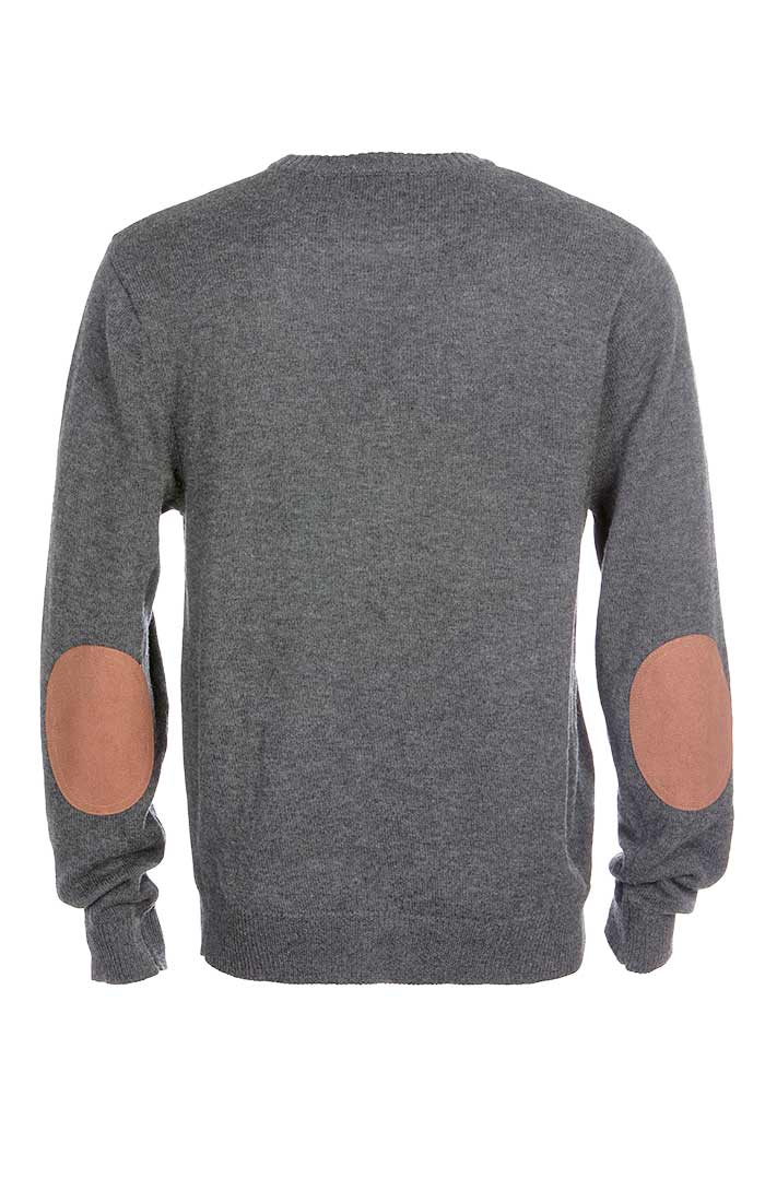 Light Grey Merino Wool Elbow Patch Crewneck - jachs