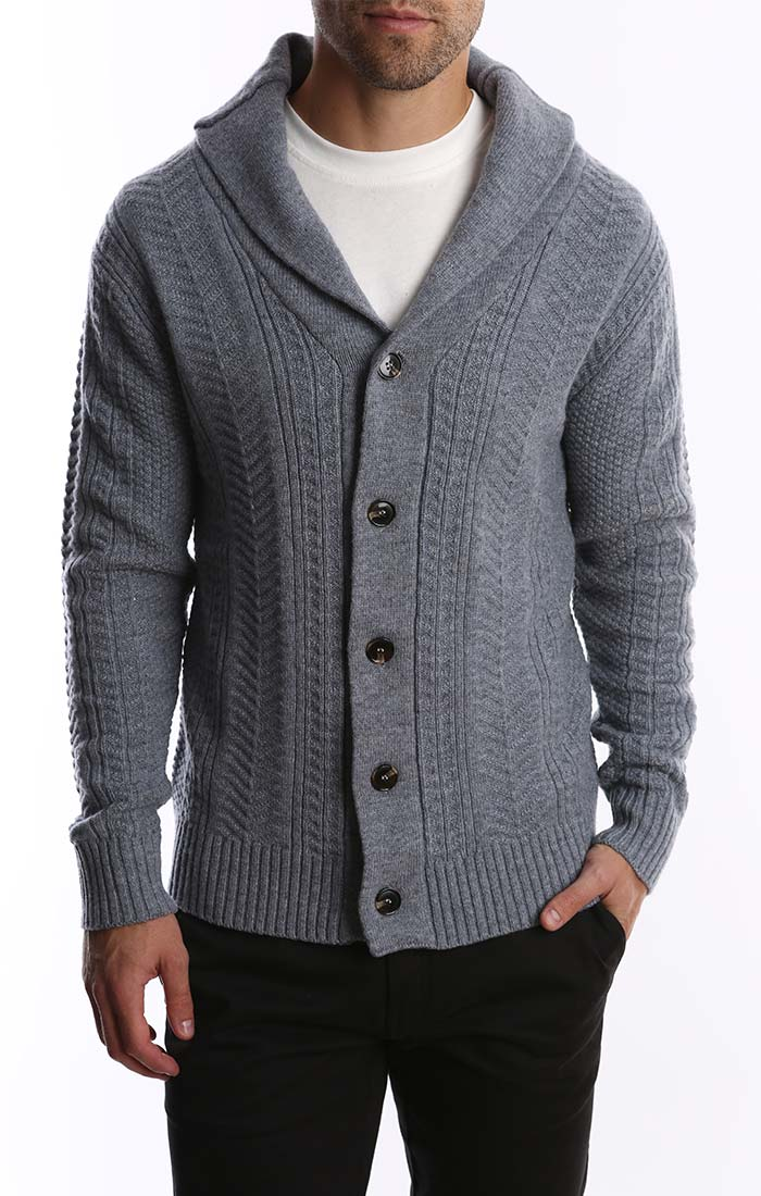 Grey Merino Wool Fisherman Cardigan