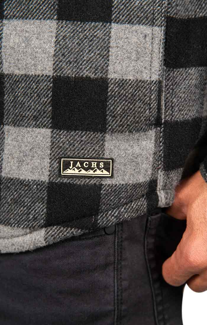 Charcoal Buffalo Plaid Wool Blend Shirt Jacket