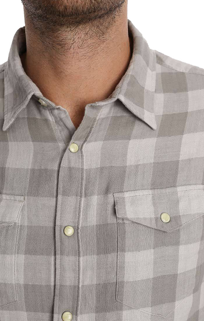 Grey Check Double Face Western Shirt - jachs