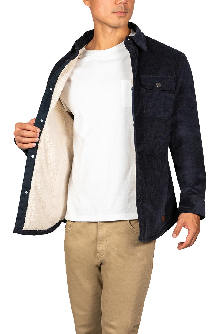Navy Stretch Corduroy Sherpa Lined Jacket