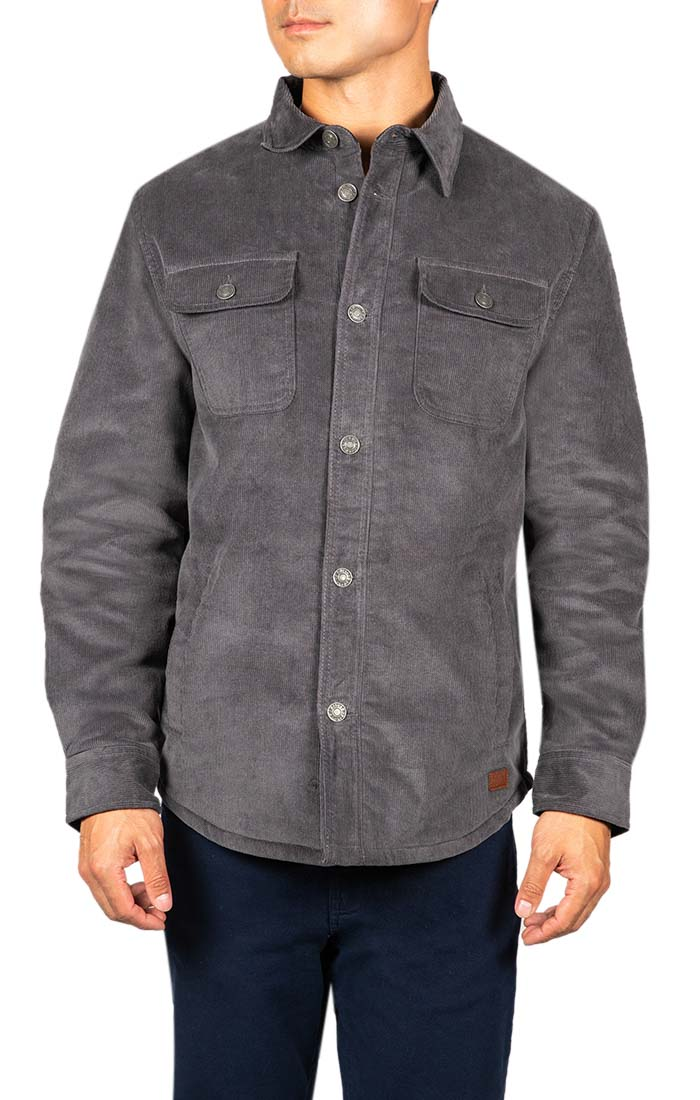 Charcoal Stretch Corduroy Sherpa Lined Jacket - JACHS NY