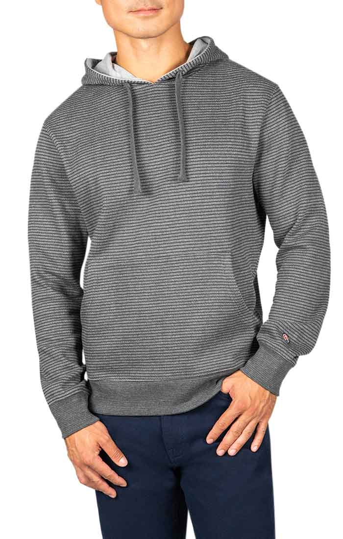 Charcoal Striped Fleece Pullover Hoodie - JACHS NY