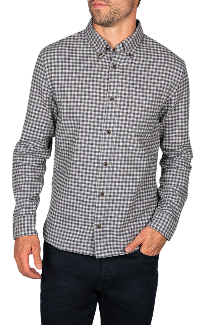 Grey Micro Plaid Flannel Shirt