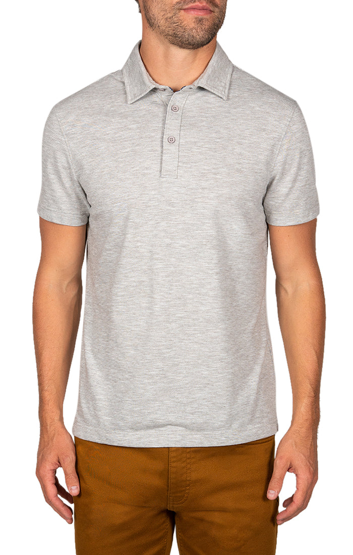 Grey Slub Linen TriBlend Polo