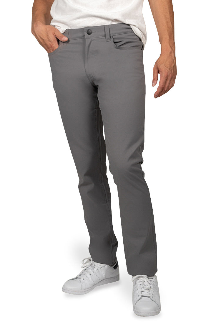 Grey Straight Fit Stretch Tech Pant - jachs
