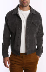 Grey Stretch Corduroy Trucker Jacket - jachs