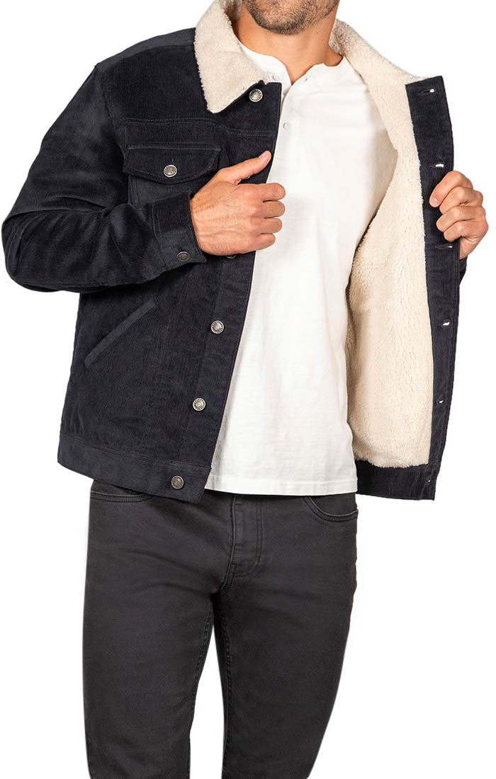 Navy Sherpa Stretch Corduroy Trucker Jacket - JACHS NY