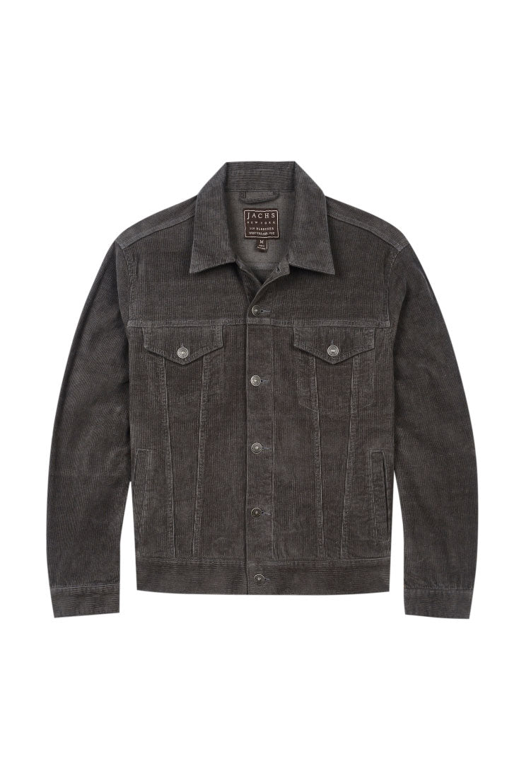 Grey Stretch Corduroy Trucker Jacket