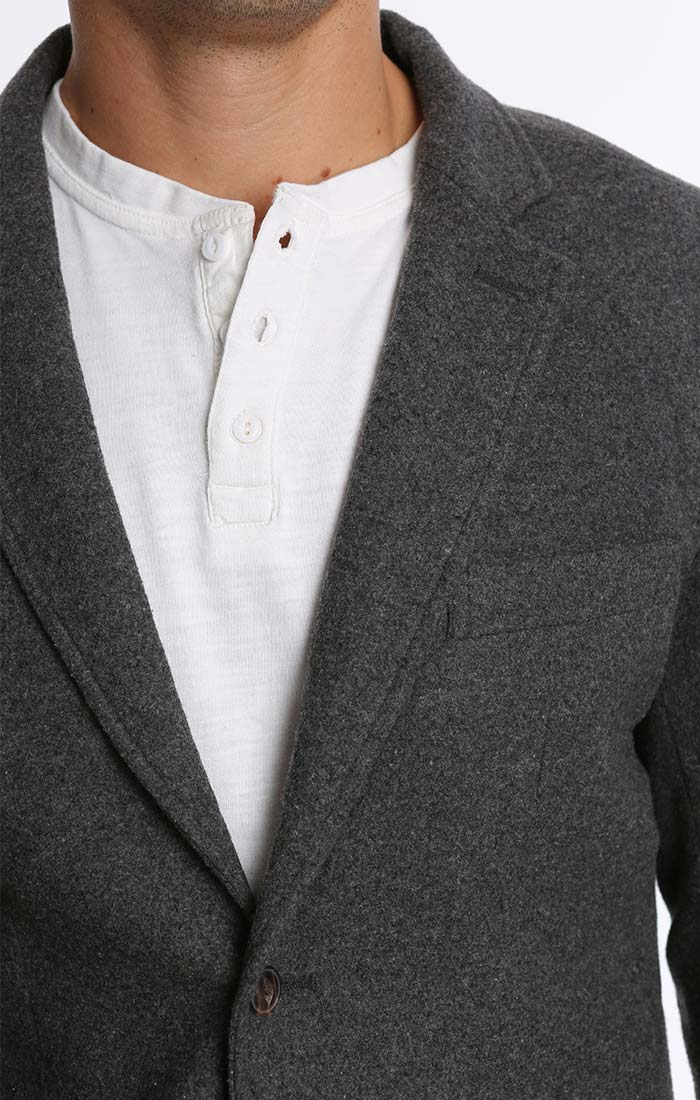 Charcoal Wool Flannel Blazer - jachs