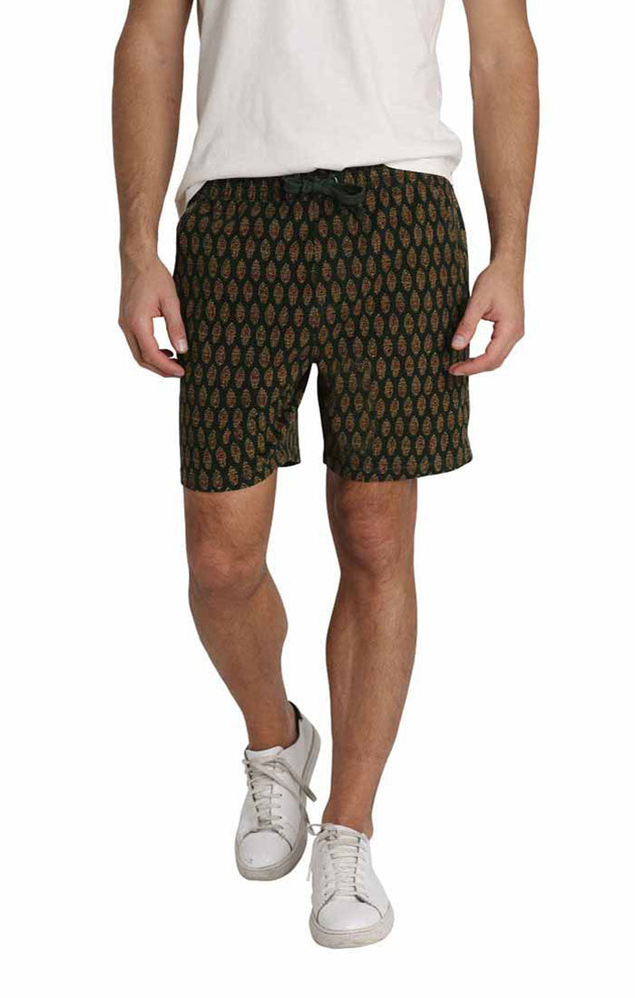 Dark Green Printed Stretch Twill Pull On Dock Short - jachs