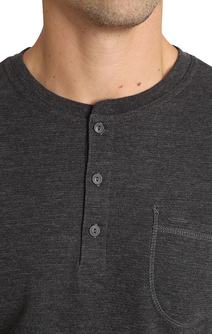 Dark Heather Grey Waffle Long Sleeve Henley - jachs