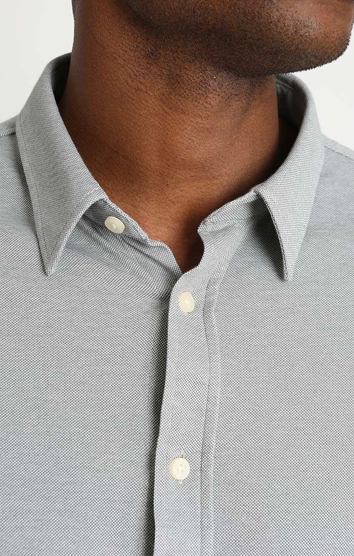Grey Knit Oxford Long Sleeve Shirt - JACHS NY