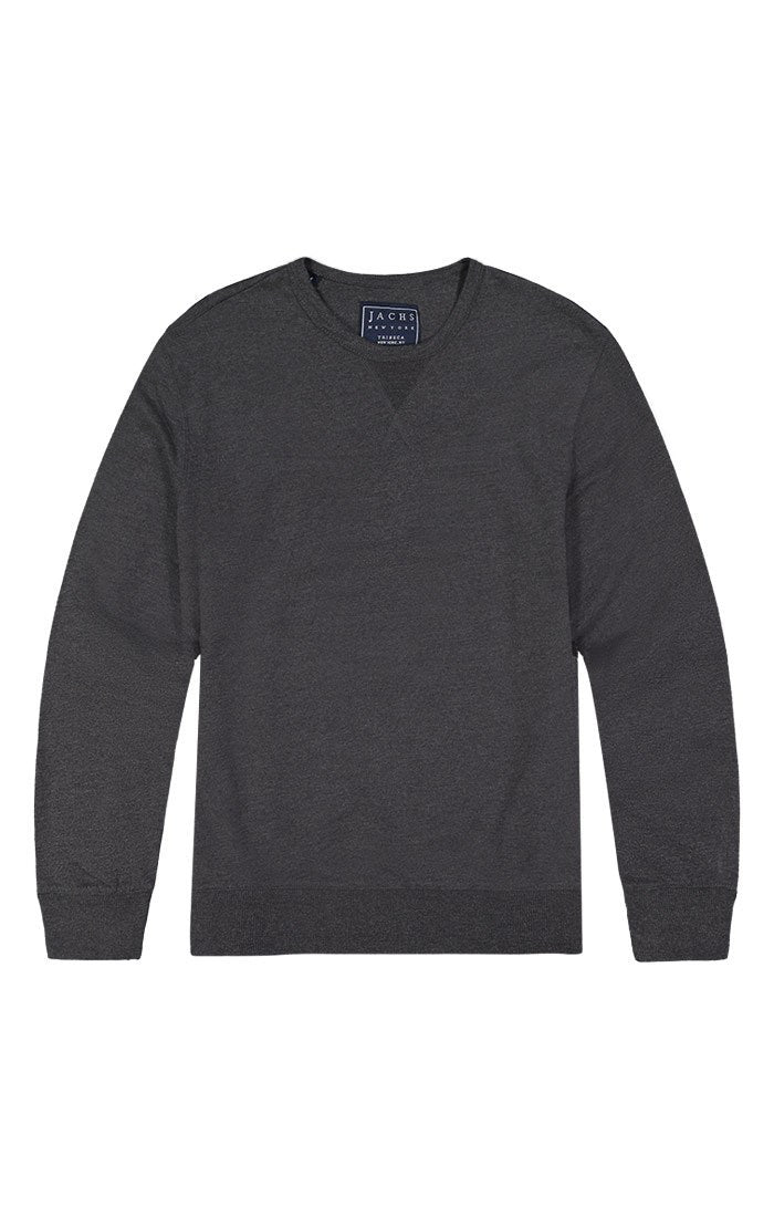 Dark Heather Grey French Terry Varsity Crewneck - jachs