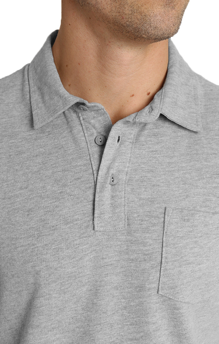 Light Heather Grey Sueded Cotton Polo - jachs