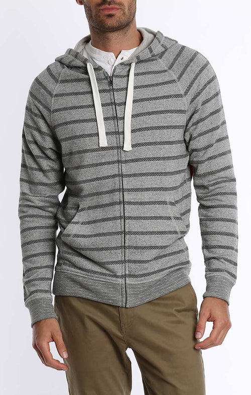 Grey Stripe French Terry Zip Up Hoodie