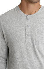 Light Heather Grey Sueded Cotton Long Sleeve Henley - jachs