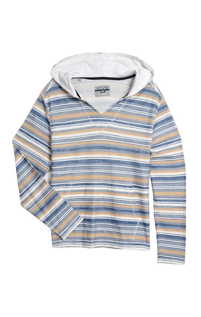 Blue and White Stripe Hooded Pullover