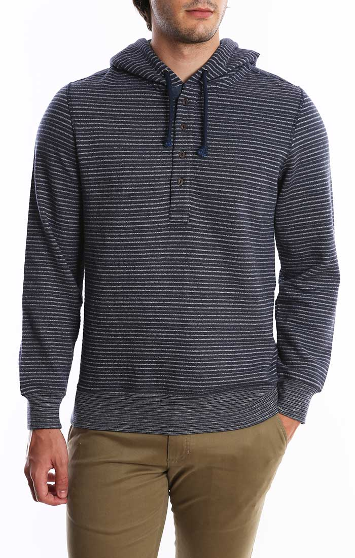 Navy Striped Fleece Hooded Henley
