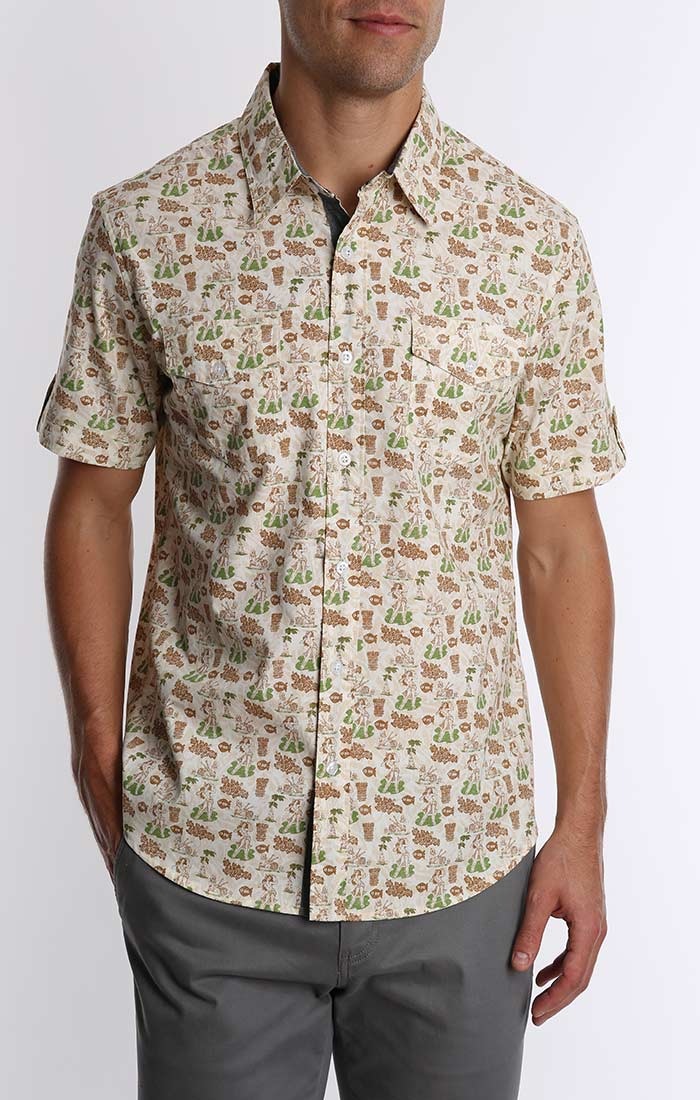Tan Hula Print Short Sleeve Shirt - jachs