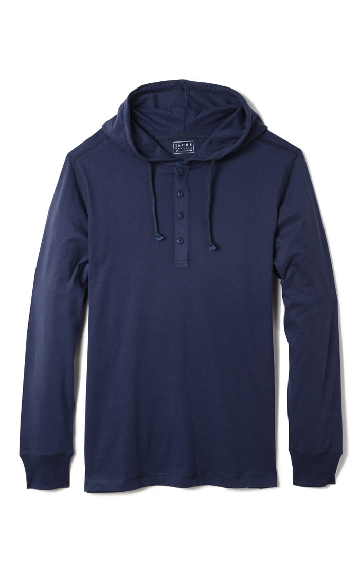 Indigo Sueded Cotton Hooded Henley - jachs