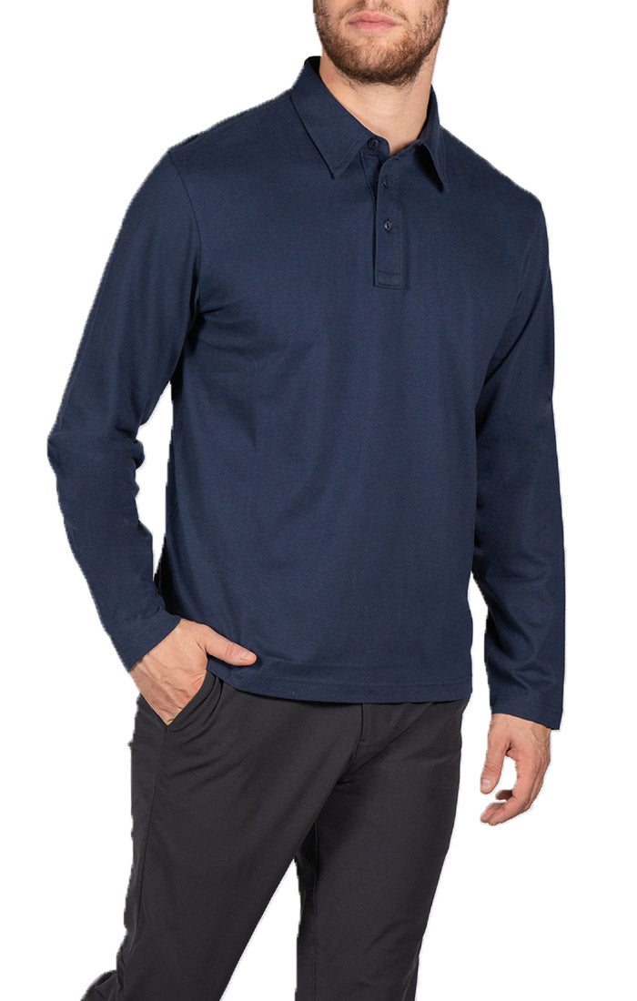 Indigo Sueded Cotton Long Sleeve Polo