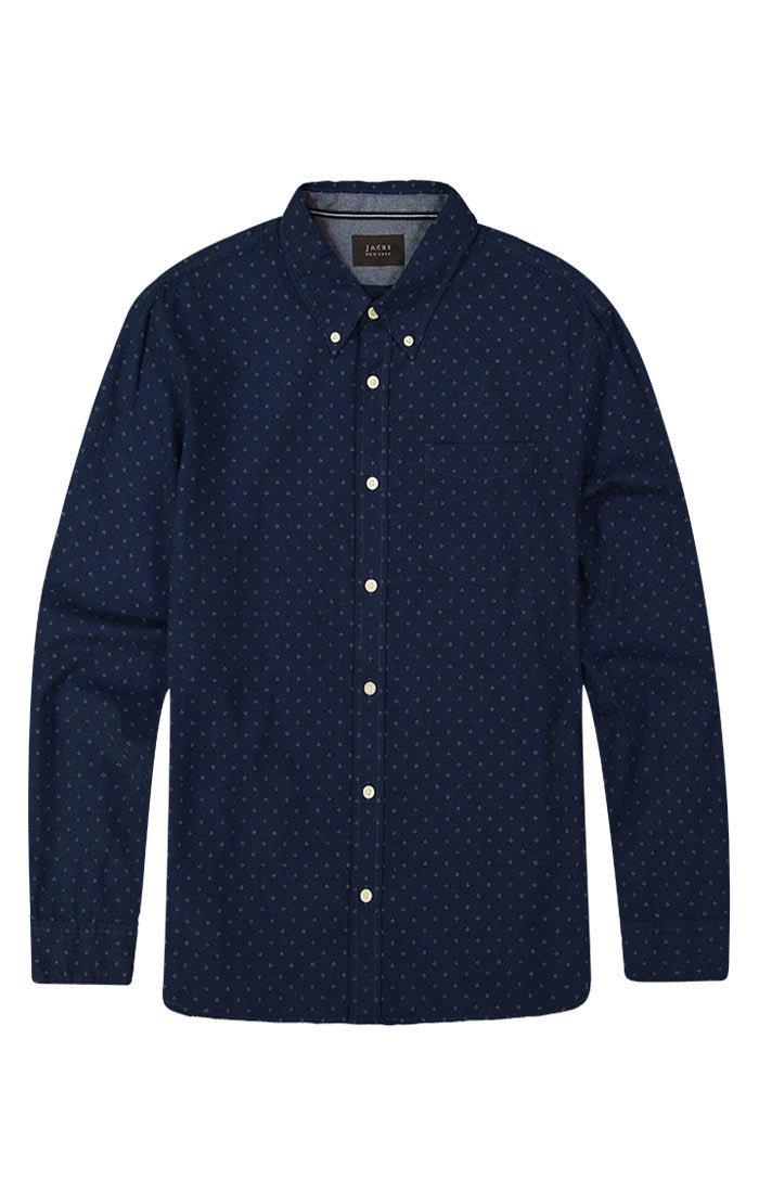 Indigo Melange Printed Oxford Shirt
