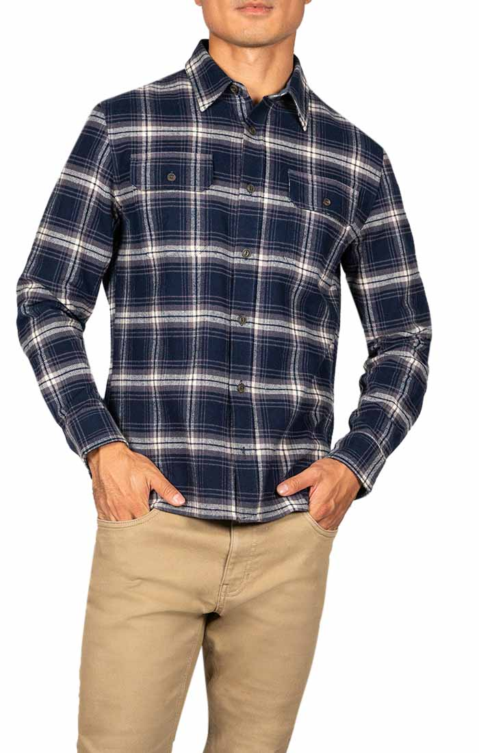 Indigo Plaid Brawny Flannel Shirt