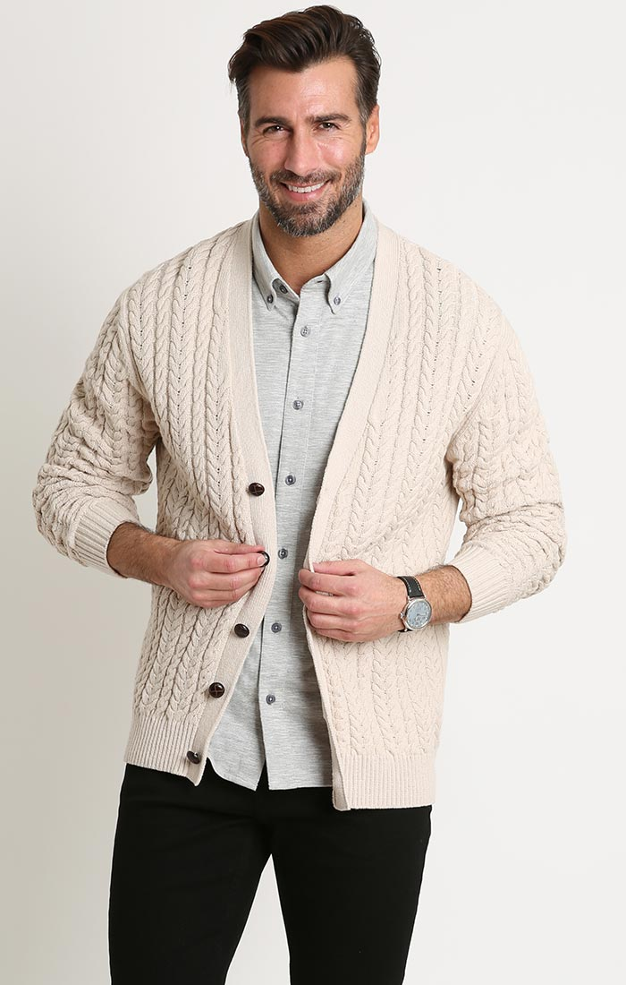 Ivory Linen Blend Cable Knit Cardigan - JACHS NY