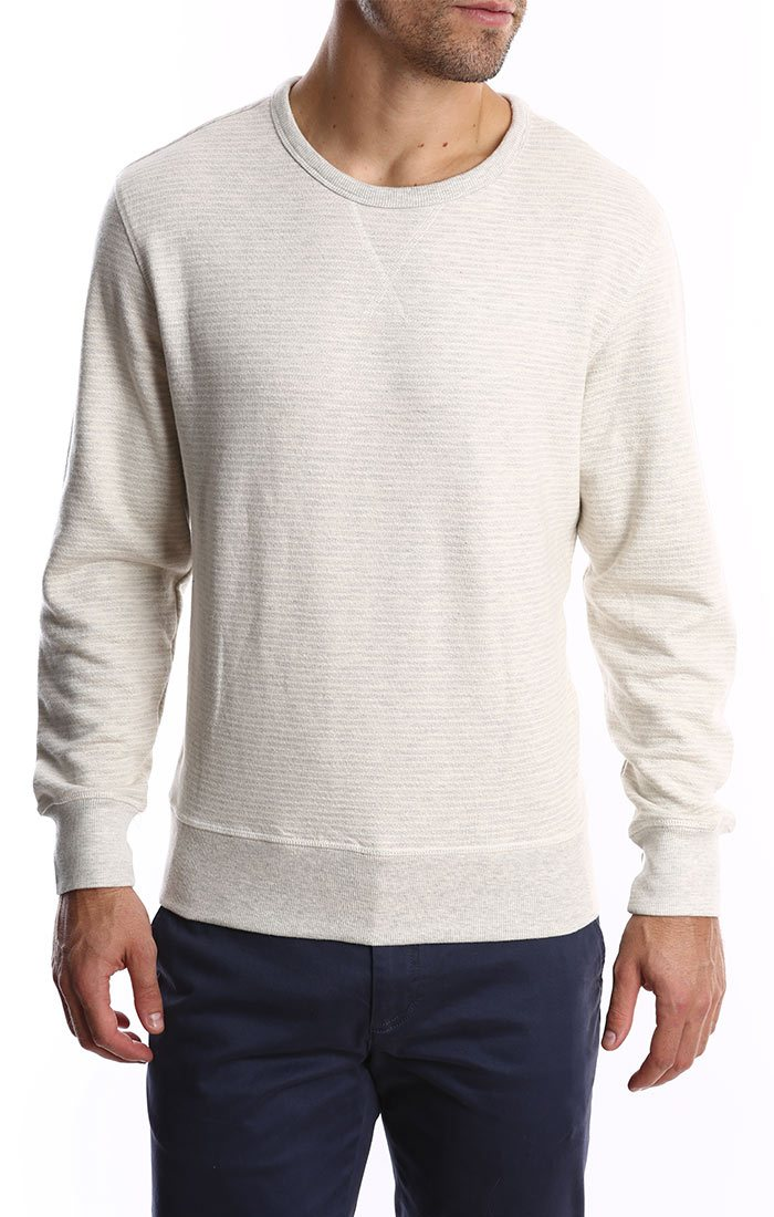 Ivory Striped Fleece Crewneck Sweatshirt - jachs
