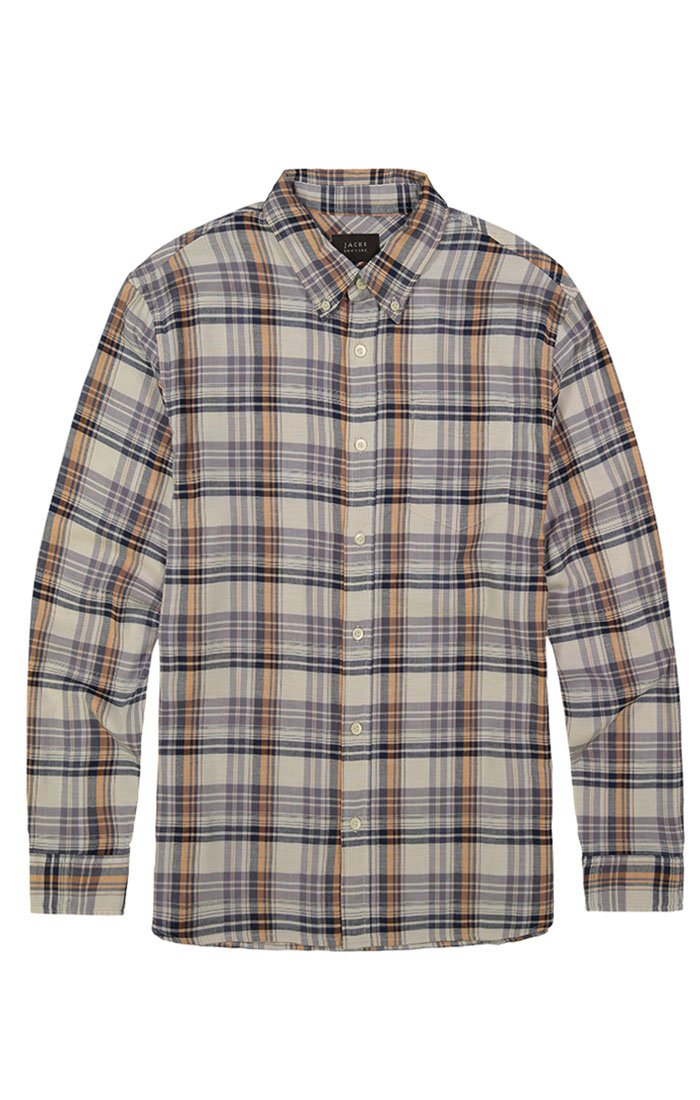 Ivory Stretch Plaid Double Face Shirt - jachs