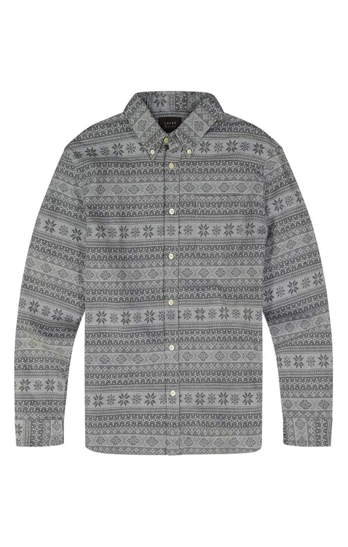 Jacquard Print Stretch Flannel Shirt