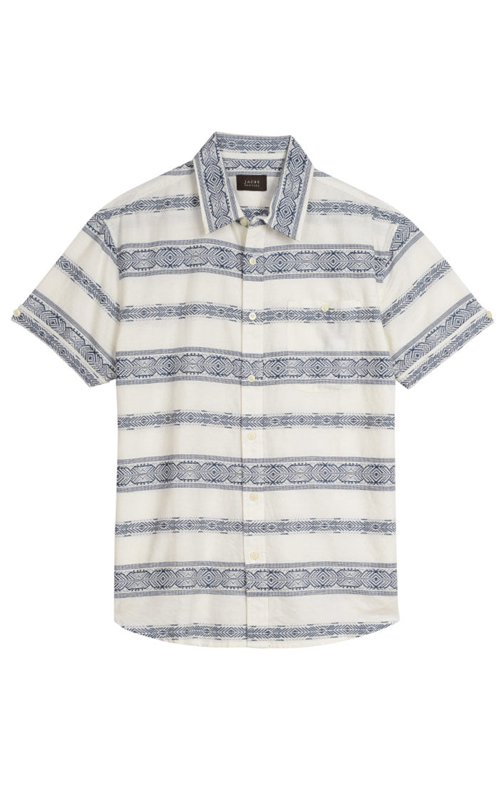 White Jacquard Short Sleeve Shirt