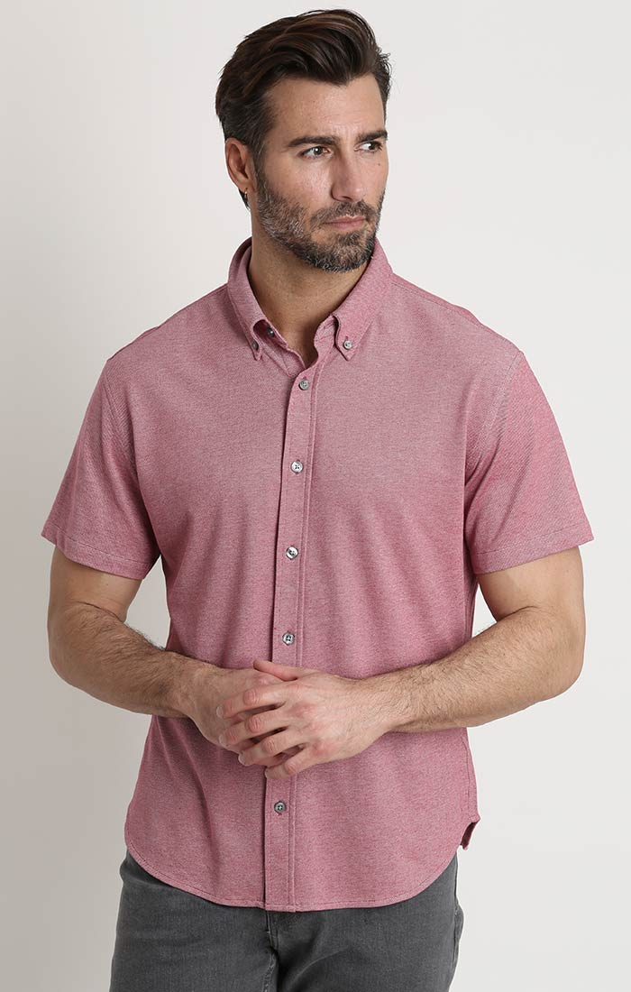 Red Knit Oxford Short Sleeve Shirt - JACHS NY