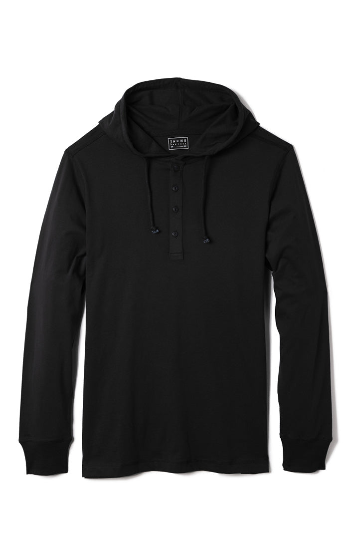 Jet Black Sueded Cotton Hooded Henley - JACHS NY