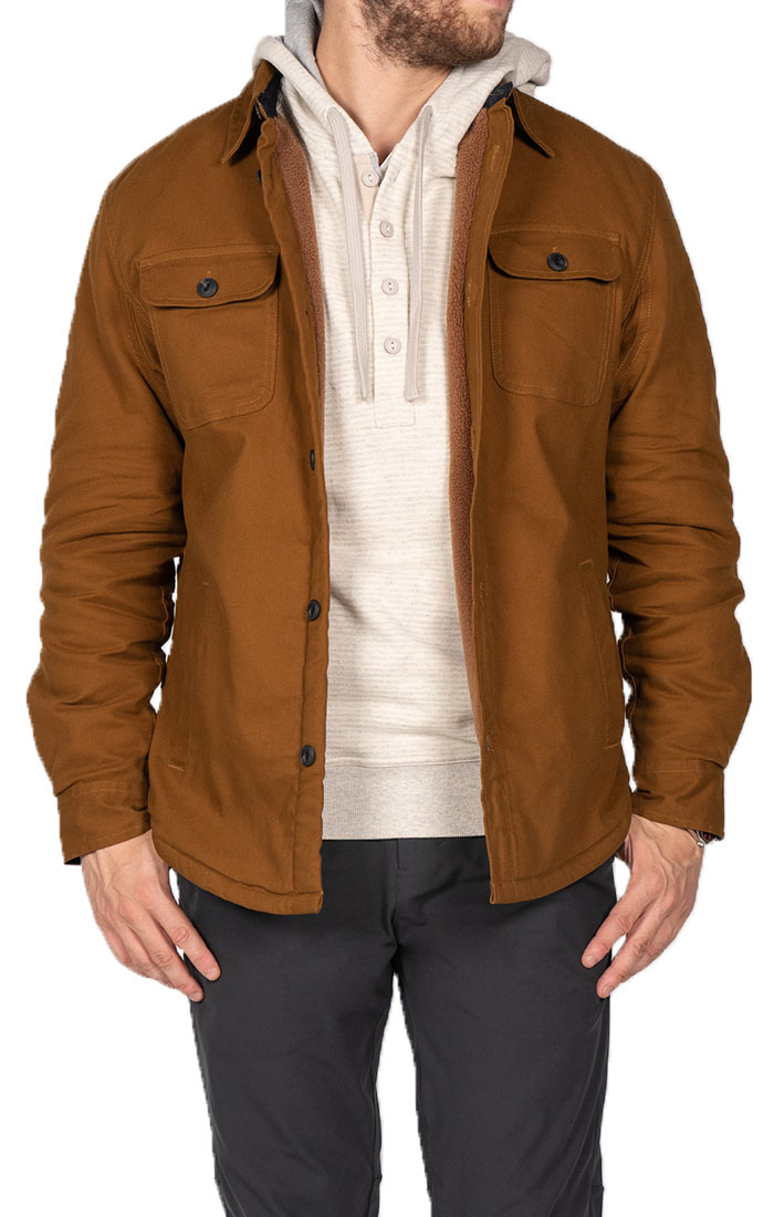 Khaki Stretch Sherpa Lined Canvas Shirt Jacket