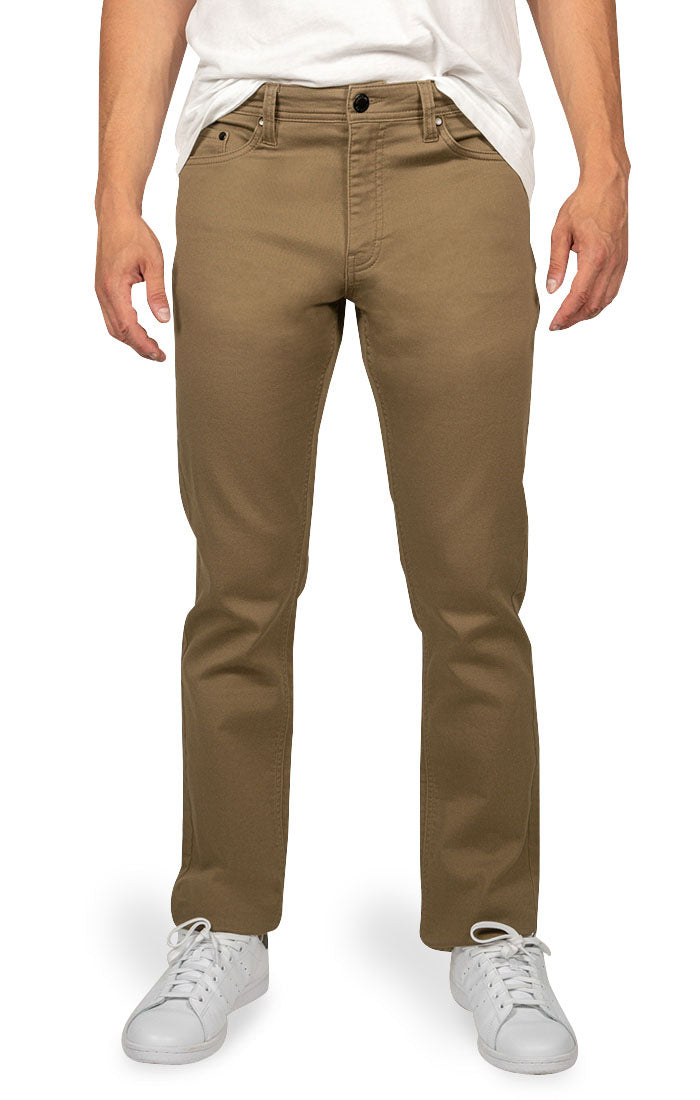 Khaki Stretch Straight Fit Stretch Traveler Pant - jachs